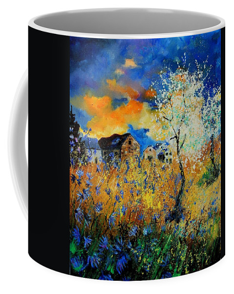 Poppies Coffee Mug featuring the painting Blooming trees by Pol Ledent