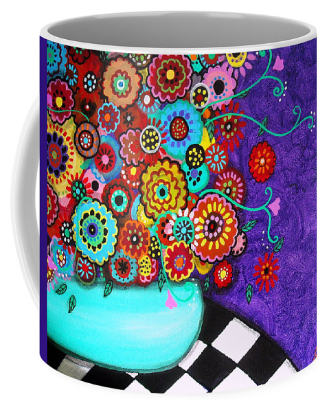 Prisarts Coffee Mug featuring the painting Blooms 3 by Pristine Cartera Turkus