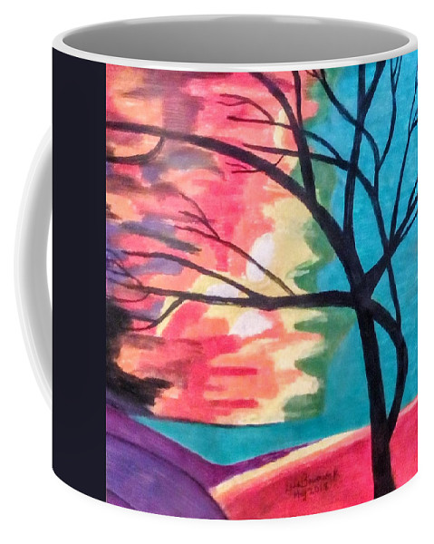 Abstract Coffee Mug featuring the painting Blowing In The Wind by Lisa Bowersock
