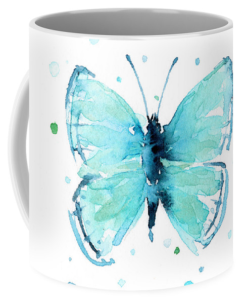 Watercolor Coffee Mug featuring the painting Blue Abstract Butterfly by Olga Shvartsur