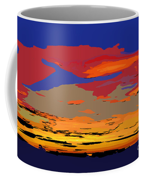 Abstract Sunset Coffee Mug featuring the digital art Blue And Red Ocean Sunset by Kirt Tisdale
