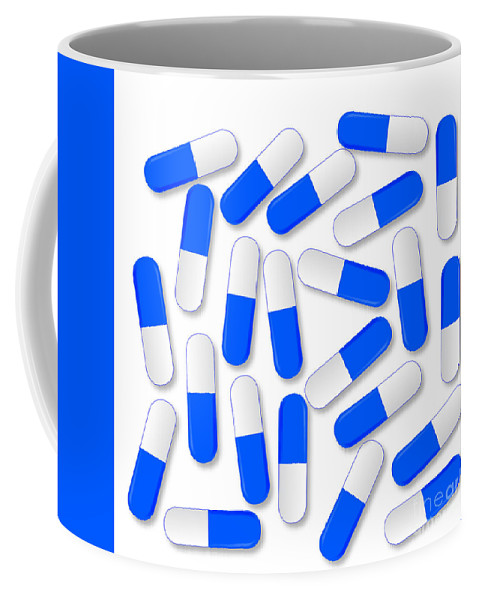 Capsules Coffee Mug featuring the digital art Blue And White Capsules by Bigalbaloo Stock