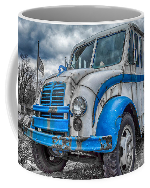 Divco Coffee Mug featuring the photograph Blue And White Divco by Guy Whiteley
