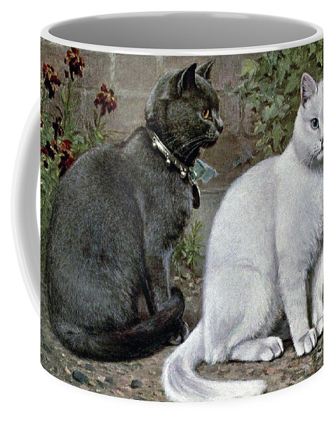 Cats Coffee Mug featuring the painting Blue And White Short Haired Cats by W Luker Junior