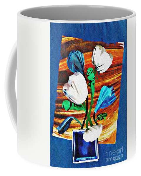 Tulip Coffee Mug featuring the mixed media Blue And White Tulips by Sarah Loft