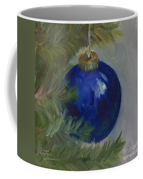 Ball Coffee Mug featuring the painting Blue Ball On Christmas Tree by Kristine Kainer