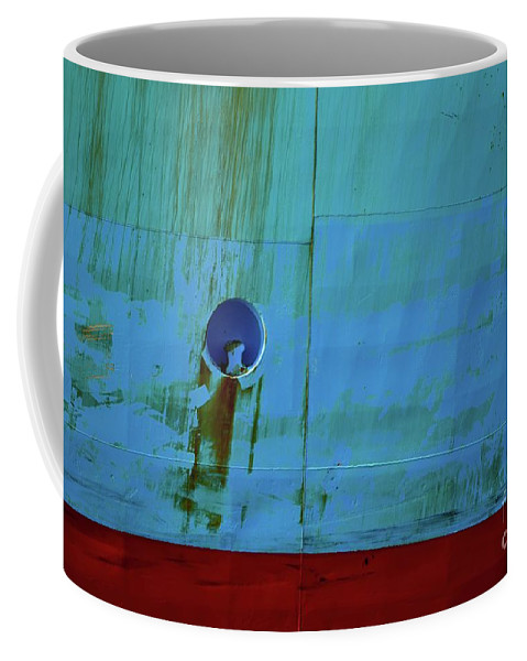 Miami Coffee Mug featuring the photograph Blue Barge by Dennis Knasel
