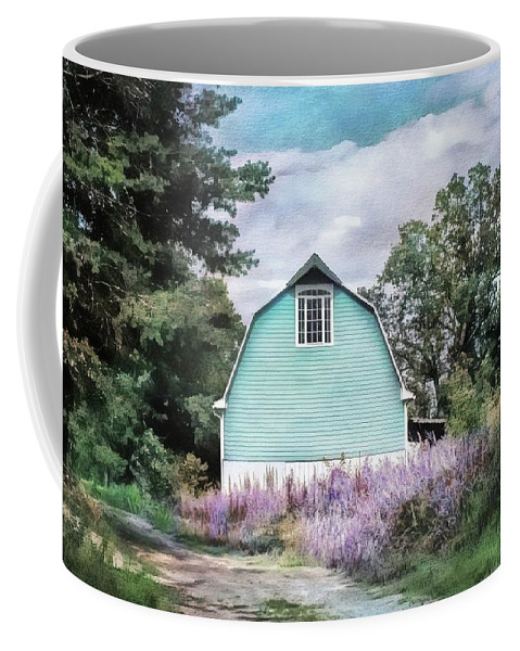 Barn Coffee Mug featuring the photograph Blue Barn Dreamy Picturesque Landscape Rural Countryside by Melissa Bittinger