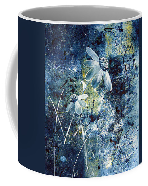 Abstract Coffee Mug featuring the painting Blue Beauties by Ruth Palmer