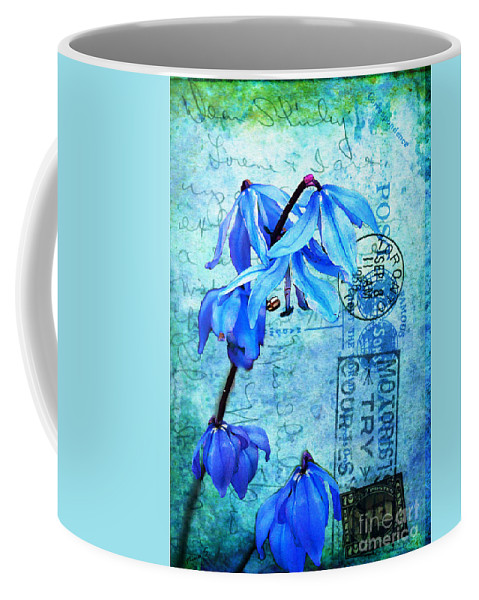 Flowers Coffee Mug featuring the photograph Blue Bells On Vintage 1936 Postcard by Nina Silver