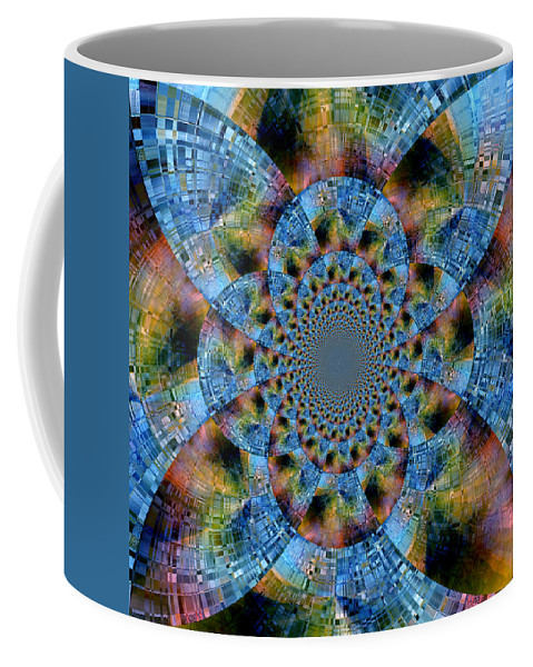 Abstract Coffee Mug featuring the digital art Blue Bling by Ruth Palmer