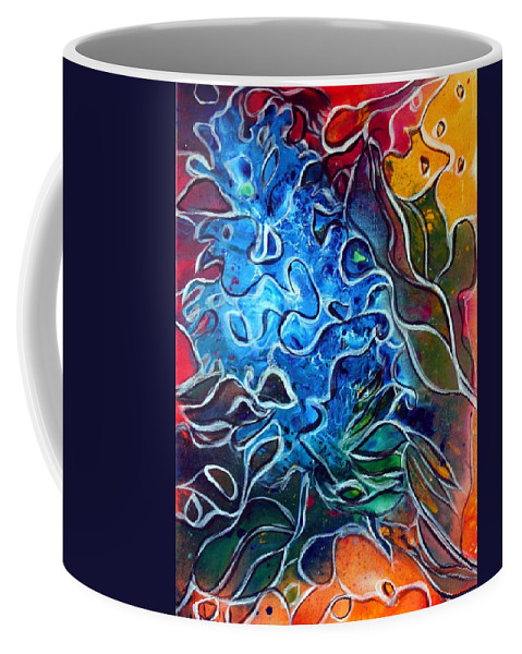 Abstract Coffee Mug featuring the painting Blue Blossom by Luiza Vizoli