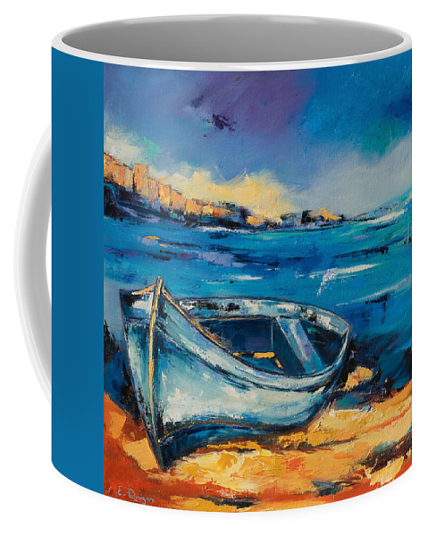 Boat Coffee Mug featuring the painting Blue Boat On The Mediterranean Beach by Elise Palmigiani