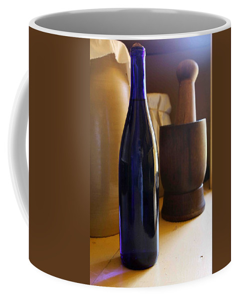 Still Life Coffee Mug featuring the photograph Blue Bottle And Mortar by Nelson Strong