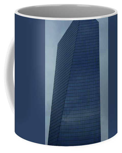 City Coffee Mug featuring the photograph Blue Building by Linda Sannuti