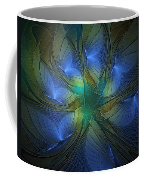 Digital Art Coffee Mug featuring the digital art Blue Butterflies by Amanda Moore