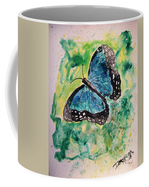 Wildlife Coffee Mug featuring the painting Blue Butterfly by Derek Mccrea