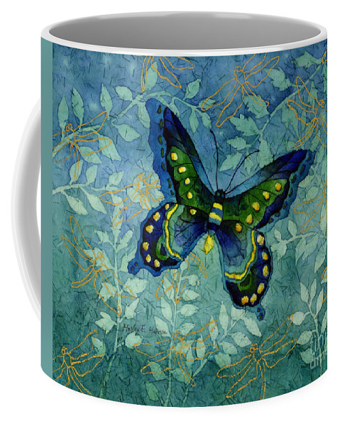 Butterfly Coffee Mug featuring the painting Blue Butterfly by Hailey E Herrera