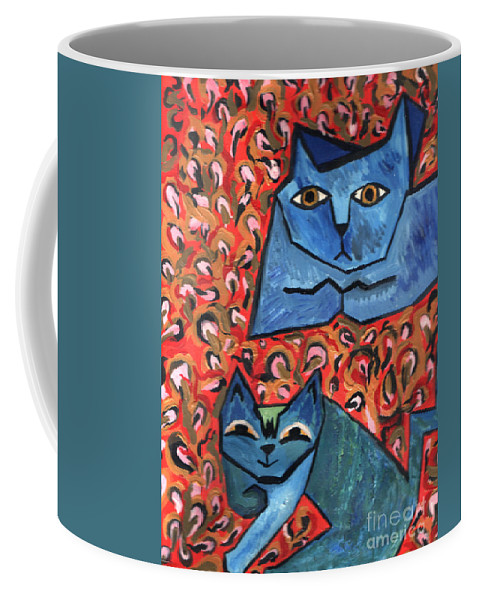 Cat Coffee Mug featuring the painting Blue Cats by Heather Lennox