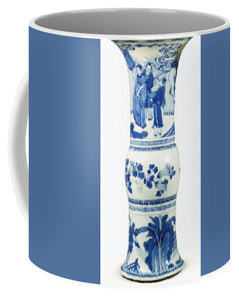 Blue Chinese Chinoiserie Pottery Vase No 3blue & White Chinese Porcelain Around The World Coffee Mug featuring the painting Blue Chinese Chinoiserie Pottery Vase No 3 by Celestial Images