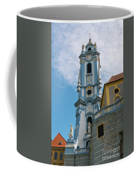 Durnstein Austria Collegeiate Blue Church Tower Building Buildings Structure Structures Architecture Churches City Cities Cityscape Cityscapes Towers Place Of Worship Places Of Worship Coffee Mug featuring the photograph Blue Church Tower In Durnstein by Bob Phillips