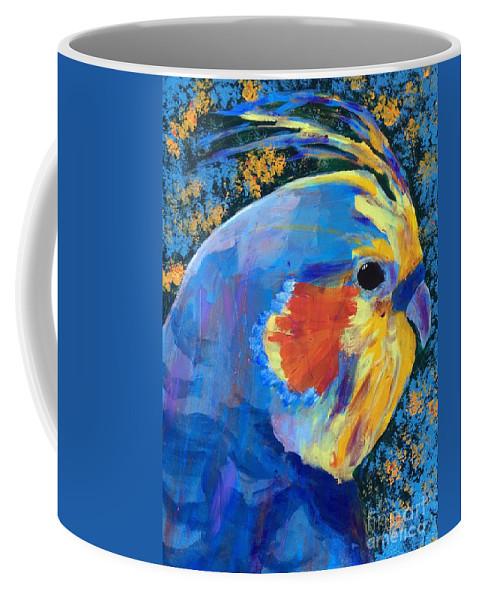 Cockatiel Coffee Mug featuring the painting Blue Cockatiel by Donald J Ryker III