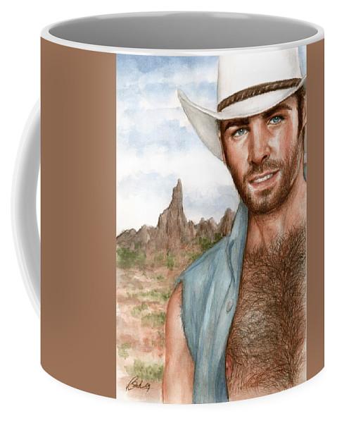 Cowboy Bruce Lennon Art Coffee Mug featuring the painting Blue Cowboy by Bruce Lennon