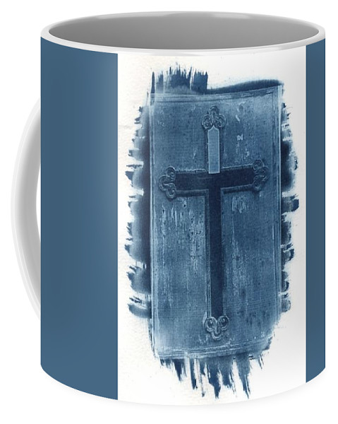 Cyanotype Coffee Mug featuring the photograph Blue Cross by Jane Linders