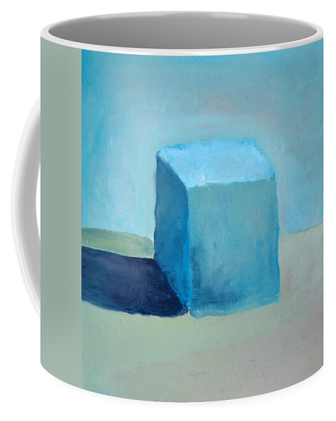 Blue Coffee Mug featuring the painting Blue Cube Still Life by Michelle Calkins