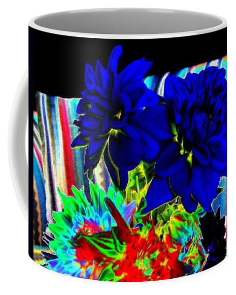 Abstract Coffee Mug featuring the digital art Blue Dahlias by Will Borden