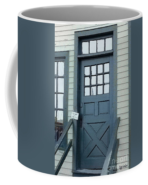Door Coffee Mug featuring the painting Blue Door At The Seaport by RC deWinter