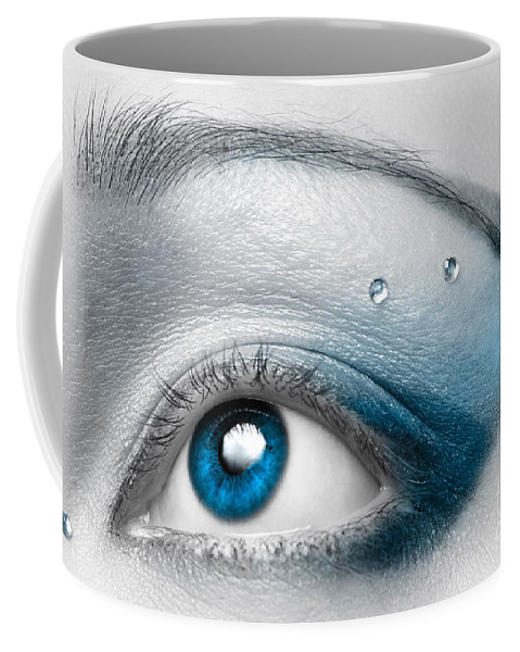 Eye Coffee Mug featuring the photograph Blue Female Eye Macro with Artistic Make-up by Maxim Images Prints