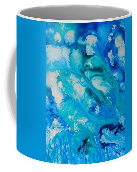 Abstract Coffee Mug featuring the painting Blue Flowers by Elle Justine