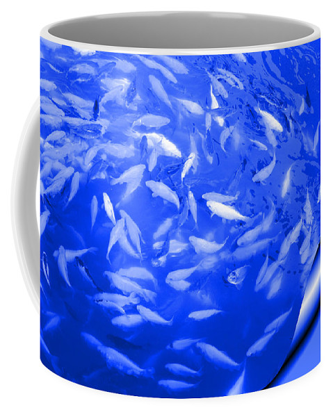 Blue Coffee Mug featuring the photograph Blue Fish Abstract by Carol Groenen