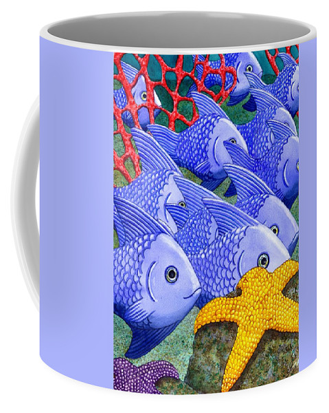 Fish Coffee Mug featuring the painting Blue Fish by Catherine G McElroy