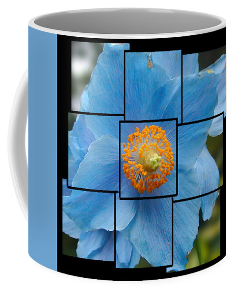 Blue Coffee Mug featuring the sculpture Blue Flower Photo Sculpture Butchart Gardens Victoria Bc Canada by Michael Bessler