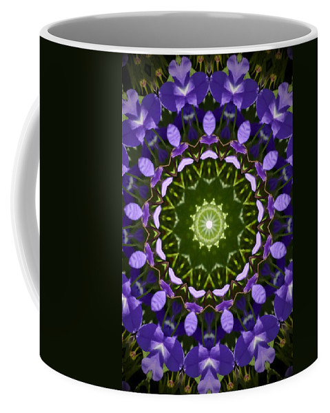Blue Flowers Kaleidoscope Coffee Mug featuring the photograph Blue Flowers Kaleidoscope by Cynthia Woods
