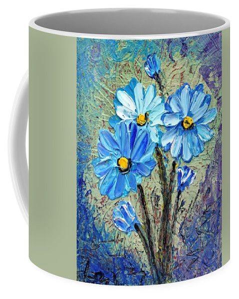 Flowers Coffee Mug featuring the painting Blue Flowers by Luiza Vizoli