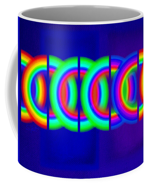 Abstract Coffee Mug featuring the painting Blue Games by Charles Stuart