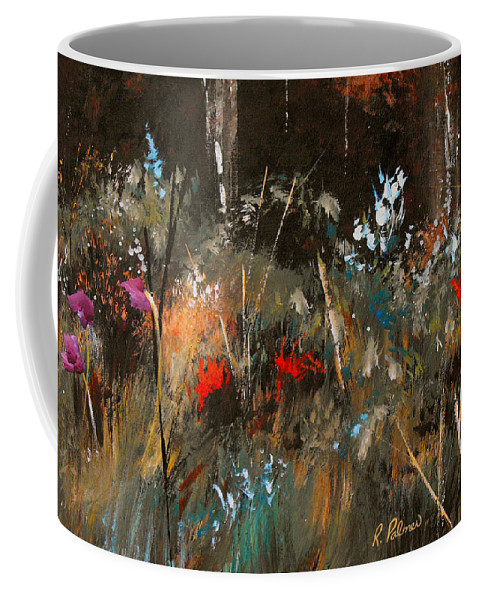 Abstract Coffee Mug featuring the painting Blue Grass And Wild Flowers by Ruth Palmer