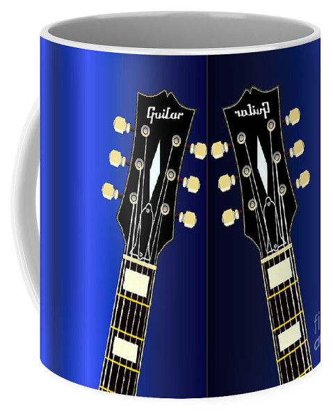 Electric Coffee Mug featuring the digital art Blue Guitar Reflections by Bigalbaloo Stock