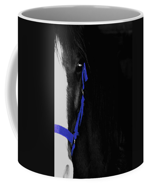 Horse Coffee Mug featuring the photograph Blue Halter by Hannah Breidenbach