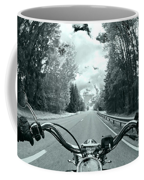 Harley Coffee Mug featuring the photograph Blue Harley by Micah May