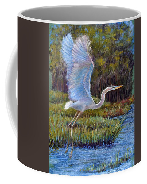 Landscape Coffee Mug featuring the pastel Blue Heron In Flight by Susan Jenkins