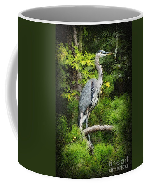 Heron Coffee Mug featuring the photograph Blue Heron by Lydia Holly