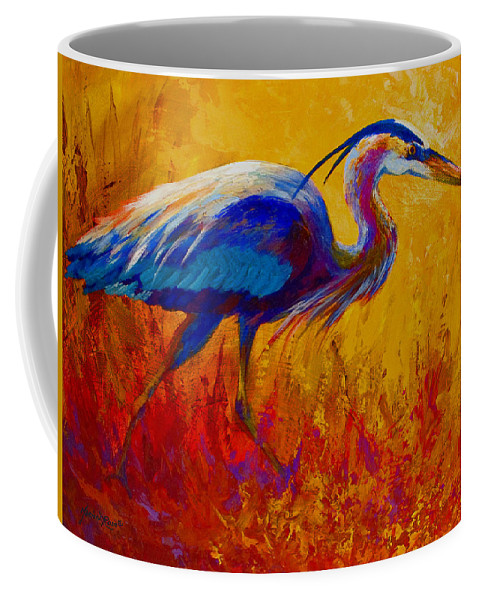 Heron Coffee Mug featuring the painting Blue Heron by Marion Rose