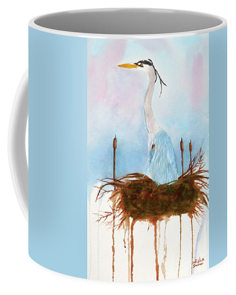 Heron Coffee Mug featuring the painting Blue Heron Nesting by Rich Stedman