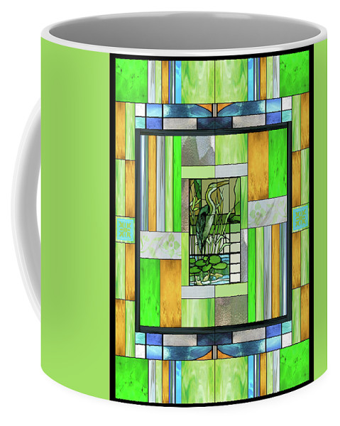 Blue Heron Coffee Mug featuring the mixed media Blue Heron Stained Glass by Ellen Henneke