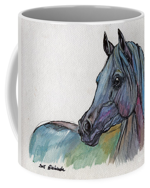 Coffee Mug featuring the painting Blue Horse by Angel Ciesniarska