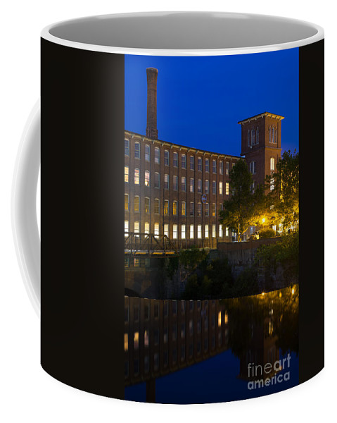 Cocheco Mills At Night Coffee Mug featuring the photograph Blue Hour Over The Cocheco Mills Dover New Hampshire by Dawna Moore Photography